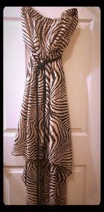 Animal print strapless high low dress